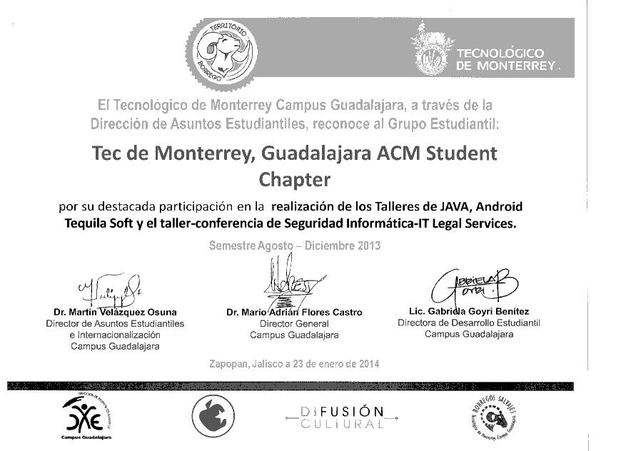 ACM Student Chapter, local award