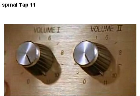 "Image of ""Volume I"" and ""Volume II"" amplifier knobs set to 11."