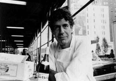A black and white image of Anthony Bourdain