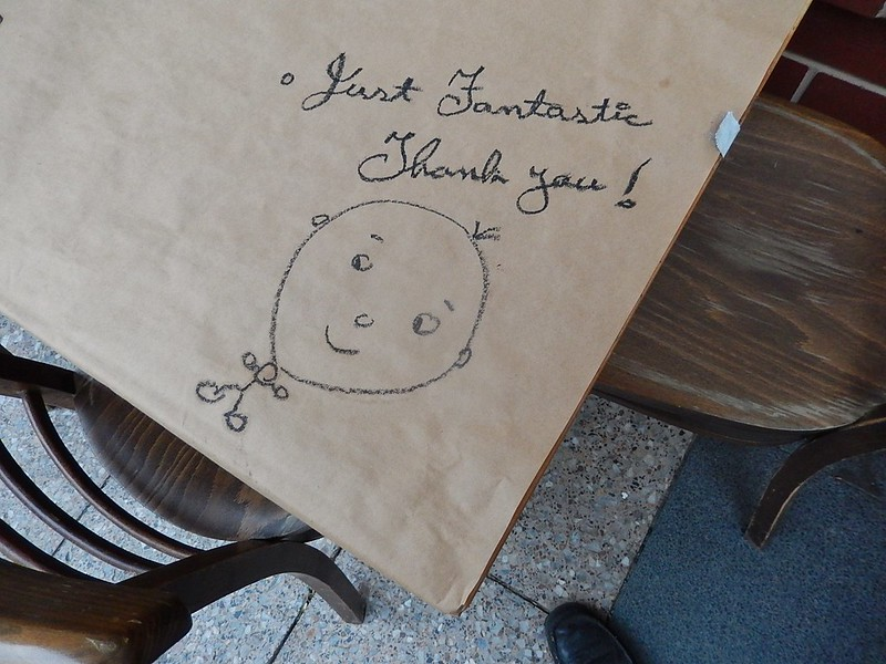 "Drawing and text on paper tablecloth ""Just Fantastic. Thank You!"""