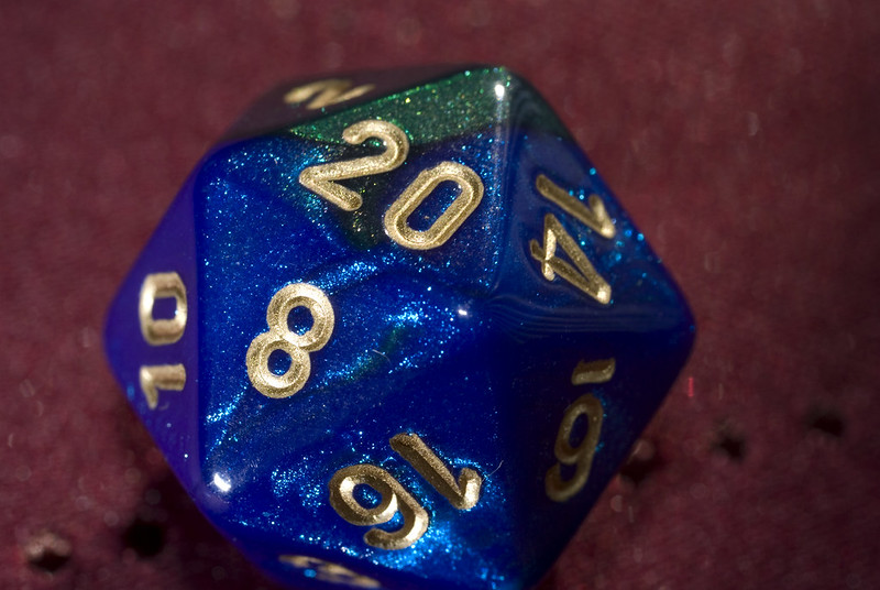 A 20 showing on a 20 sided die.