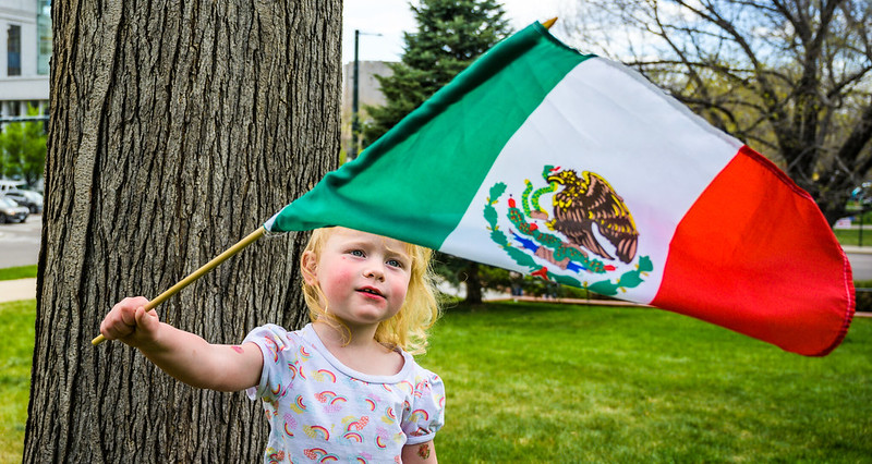 A young girle waving a Mexican flag with a pondering look.