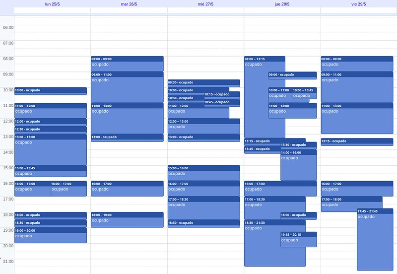 My schedule (details hidden) for May 25 to May 29, 2020