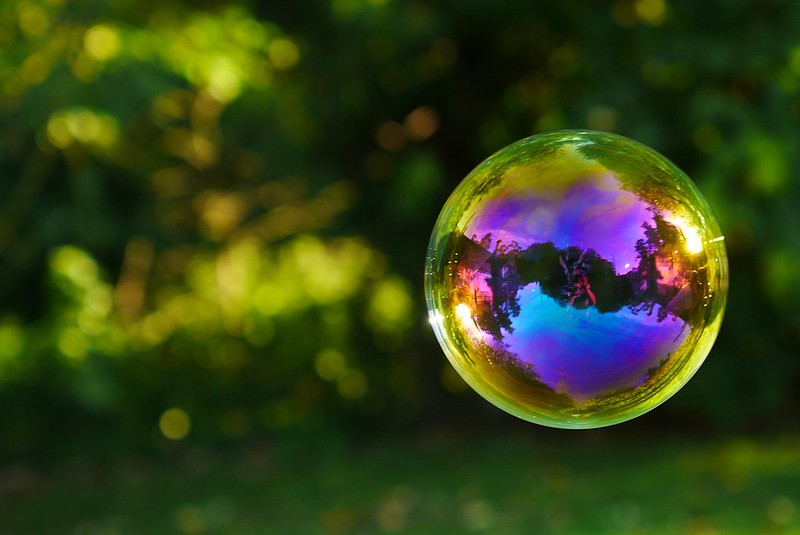 An interested picture of a bubble with multicolor lighting in the bubble and a shallow depth of field in the shot to blur the flora in the background.