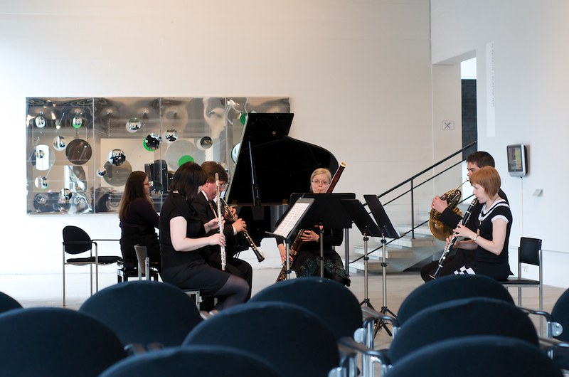 A sextet tuning the instruments before a Tuesday evening's concert in Wäinö Aaltonen Museum of Art.
