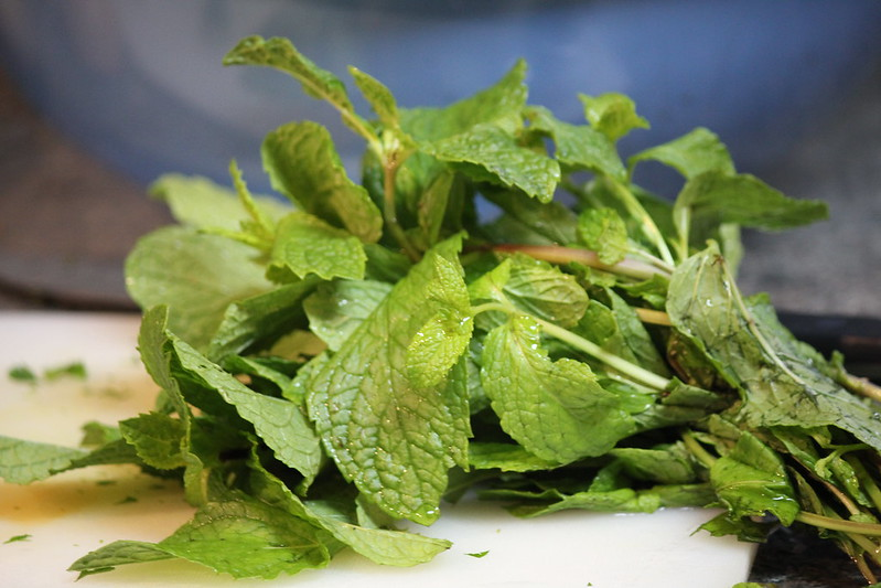 fresh mint for Moroccan lamb