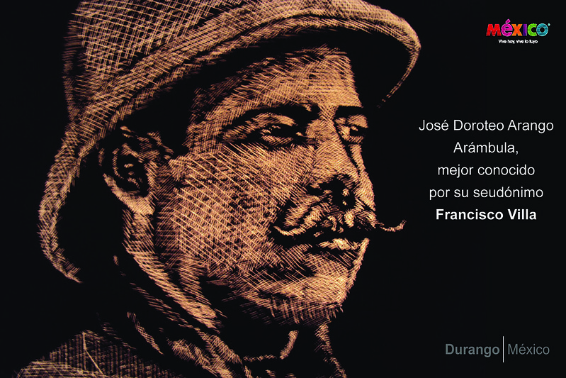 """Post card with Pancho Villa in """"scratch technique"""""""