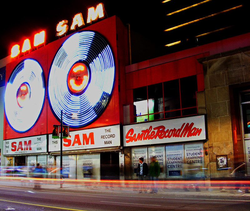 For those of you who don't know, this is the flagship store of the now defunct Sam the Record Man, which has been an iconic Toronto landmark since 1961.