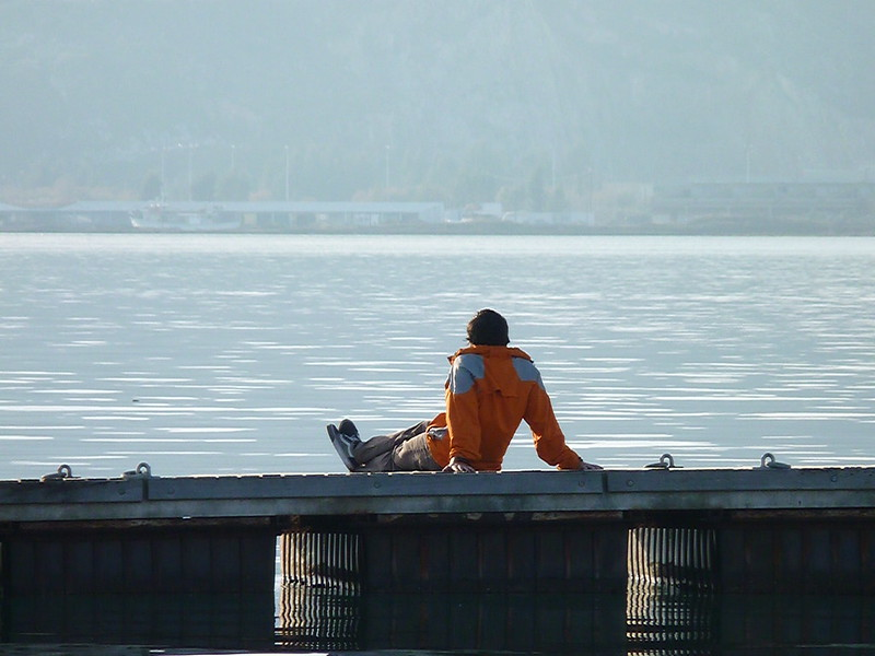 A person sitting with arms stretched behind them on a pier looking out over water.