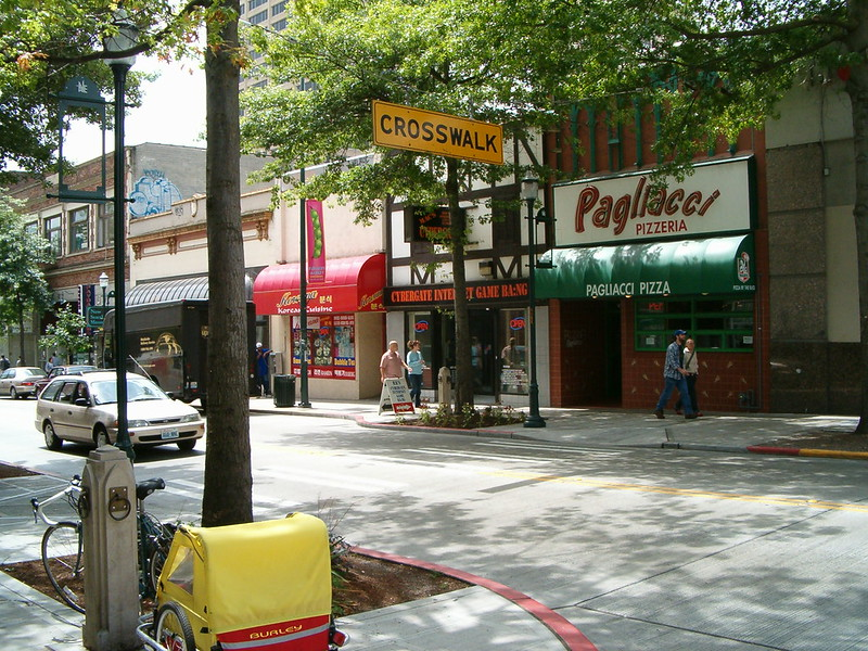 A picture of Seattle location (University Ave.) of Pagliacci's Pizza from across the street in summer 2004.