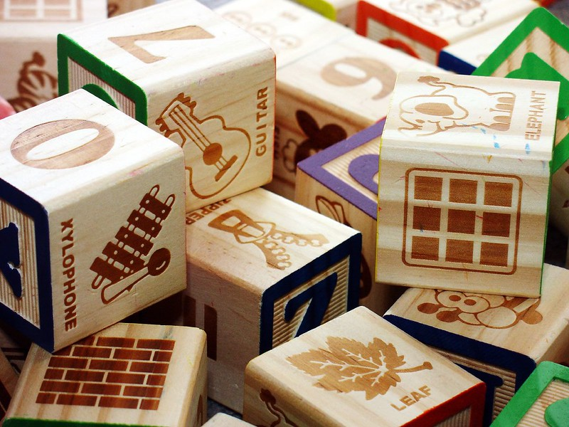 Classic wood blocks with pictures, numbers, and letters.
