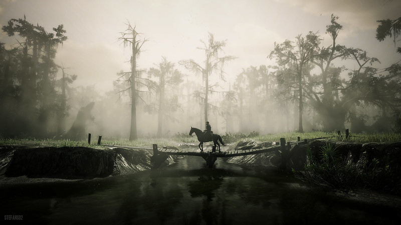 Screenhost of Arthur Morgan crossing a wooden bridge in the game Red Dead Redemption 2.