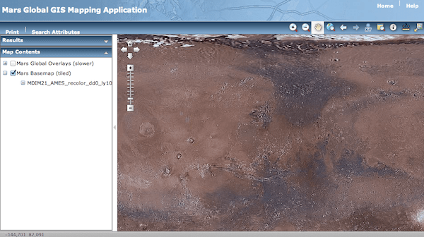 web mapping d'US Geological Survey sur Mars