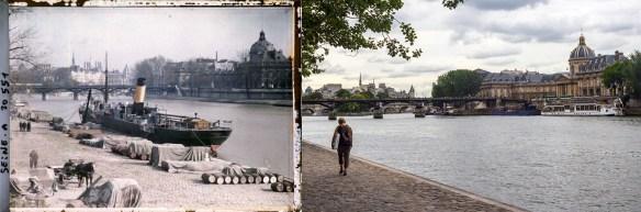 La Seine, quai des Tuileries - à gauche en 1920, à droite en 2012