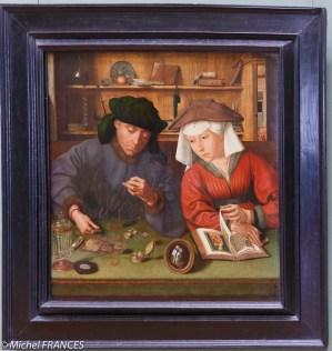 Plus loin, le prêteur et sa femme de Quentin Metsys