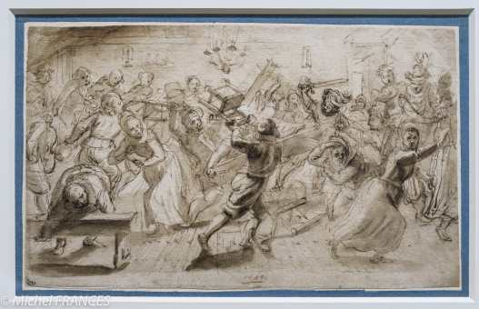 Theodor Matham - Scène de bagarre dans une taverne - 1619