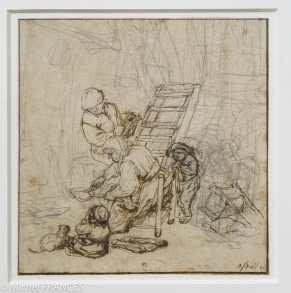 Adrien van Ostade - La faiseuse de crêpes - vers 1673 - Graphite, plume et encre brune Ce dessin est l'étude préparatoire pour l'aquarelle de la fondation Custodia. Les premières recherches de l'artiste, hâtivement mises en place au graphite, sont rarement aussi visibles que dans cette feuille, où ne sont repris à l'encre brune, d'une plume vive et cassante, que les principaux éléments du premier plan. Très peu de dessins comparables à celui-ci nous sont parvenus, sans doute parce que les collectionneurs montraient plus d'intérêt pour les compositions achevées que pour les simples esquisses.