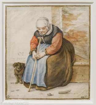 Cornelius Saftleven - Vieille femme assise avec son chien - 1677 - Pierre noire, sanguine et aquarelle Cette feuille fait partie des quatre derniers dessins exécutés par l'artiste peu avant sa mort. Elle témoigne parfaitement de l'évolution du style de Cornelis Saftleven qui, après avoir traité ses personnages uniquement à la pierre noire et à la craie, ajoute désormais de la couleur, au moyen de papiers teintés ou de rehauts d'aquarelle. Contrairement à ce qu'il fait dans la plupart de ses études de figures, il conçoit ici une véritable petite scène de genre où le modèle apparaît dans son cadre quotidien accompagné de son fidèle compagnon.