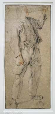 Cornelis Dusart - Homme tenant une cruche et buvant un verre gradué - Pierre noire et sanguine. Les nombreuses études de figures dessinées par Dusart aux trois crayons, parfois rehaussés d'aquarelle, sur des papiers bleus ou blancs, sont le fruit d'un travail effectué en atelier, devant le modèle vivant. Isolés de tout contexte, les personnages posent dans l'attitude souhaitée par le peintre, dans le but de dresser une sorte de typologie des poses, où la gestuelle et l'expression théâtrale confinent parfois au grotesque. Ce paysan buvant dans un verre gradué apparaît dans une aquarelle de Dusart datée de 1689.