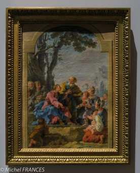 Noël Hallé - Le Christ et les enfants - 1775 - esquisse du tableau précédent - huile sur papier marouflé sur toile