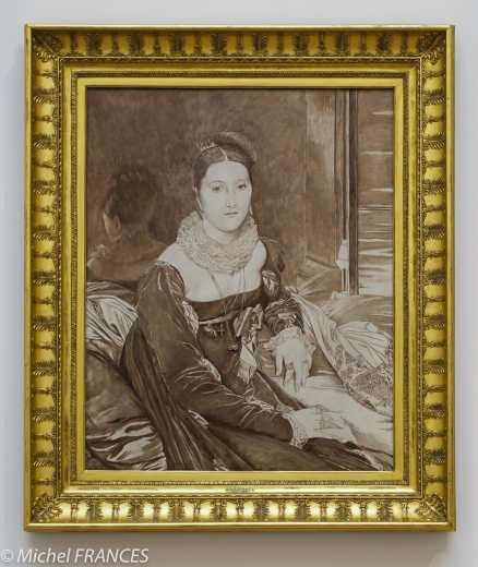 James TISSOT - grisaille pour le copie du Portrait de Madame de Senonnes d'INGRES