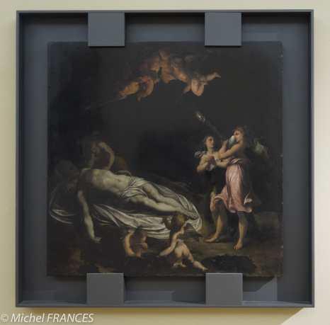 Palais Sternberg - Galerie nationale - Felice Brusasorzi dit Riccio - Christ entouré par des anges - peinture sur marbre noir