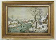 Palais Sternberg - Galerie nationale - École flamande - Paysage d'hiver avec une table aux oiseaux
