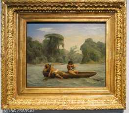 Musée du quai Branly - Peintures des lointains - François Auguste Biard - Deux indiens en pirogue - vers 1860