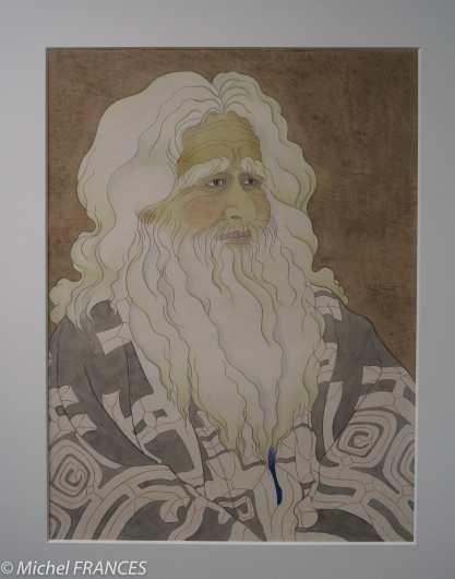 Musée du quai Branly - Peintures des lointains - Paul Jacoulet - Vieil Aïno, Chikabumi, Hokkaido, Japon - 9 juin 1950