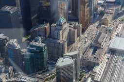 Toronto CN Tower - Union Station et le Fairmont Royal York vus d'en haut