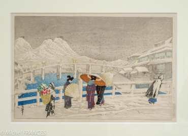 Oda Kazuma - Le mont Akayama à Matsue, de nuit - 1925 - Lithographie