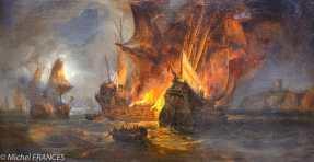 Musée beaux-arts de Brest - Pierre)Julien Gilbert - Combat de la Cordelière et d'une flotte anglaise, en 1512, au large de Saint-Mathieu - 1838