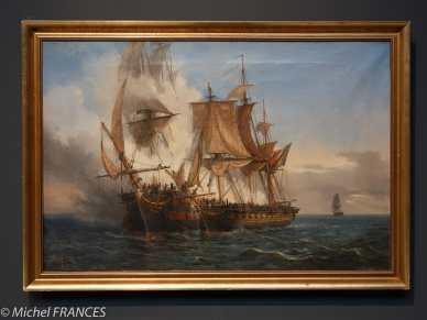 """Musée beaux-arts de Brest - Augute Mayer - L'abordage du vaisseau """"Lord Nelson"""" par le corsaire bordelais """"La Bellone"""" - 1872"""