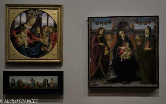 expo Collection Campana - en bas : atelier Botticelli - Noli te tangere - à droite : Sano di Michele Ciampanti - La Vierge et l'Enfant en trône entre saint Jean l'Évangéliste et sainte Brigitte de Suède avec deux anges - bois 1495-1500