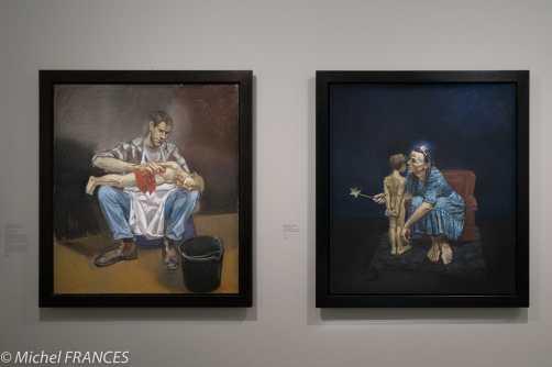 Orangerie - expo Paula Rego - Gepetto lavant Pinocchio - La fée bleue chuchote à l'oreillede Pinocchio
