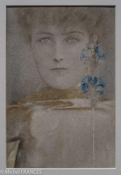 exposition Fernand Khnopff - Un masque au manteau blanc - 1907