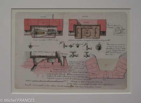 exposition Jean-Jacques Lequeu - Plan des lieux à soupape, lieux d'aisance.