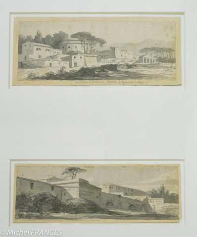Fondation Custodia - expo 500 dessins musée Pouchkine - Jacques-Louis David - Constructions avec des contreforts - Bâtiments entourés de pins - 1775-1780 ou 1784-1785