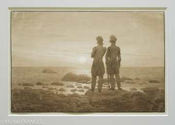 Fondation Custodia - expo 500 dessins musée Pouchkine - caspar David Friedrich - Deux hommes au bord de la mer - 1830-1835
