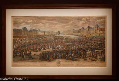 exposition Graver pour le Roi - Jan van Huchtenburg d'après Adam Frans van der Meulen - Marche du roi accompagné de ses gardes passant sur le Pont-Neuf et allant au paalis - 1668-1669