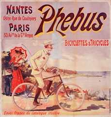 Titre : Nantes... Paris... Phebus, Bicyclettes et tricycles : [affiche] / [non signée, attribuée à Eugène Ogé] Auteur : Ogé, Eugène (1861-1936). Illustrateur Éditeur : [s.n.] Éditeur : [Charles Verneau] ([Paris]) Date d'édition : 1900 Sujet : Bicyclettes -- Publicité Sujet : Cycles et motocycles Type : image fixe Type : estampe Langue : français Format : 1 est. : lithogr. en coul. ; 146 x 131 cm Format : image/jpeg Format : Nombre total de vues : 1 Description : Affiche Droits : domaine public Identifiant : ark:/12148/btv1b9011749j Source : Bibliothèque nationale de France, ENT DN-1 (VERNEAU,Charles)-GRAND ROUL Notice du catalogue : http://catalogue.bnf.fr/ark:/12148/cb398411904 Provenance : Bibliothèque nationale de France Date de mise en ligne : 18/04/2011