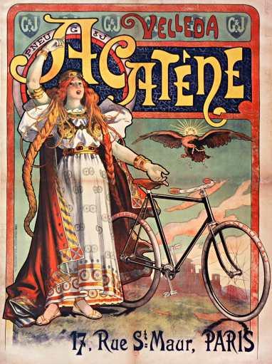 Titre : Velleda Acatêne, 17, rue St Maur, Paris : [affiche] / [Lucien Baylac] Auteur : Baylac, Lucien (1851-1911). Illustrateur Éditeur : [s.n.][s.n.] Éditeur : [imp. Kossuth & Cie] ([Paris]) Date d'édition : 1898 Sujet : Bicyclettes -- Publicité Sujet : Cycles et motocycles Type : image fixe Type : estampe Langue : français Format : 1 est. : lithogr. en coul. ; 160 x 120 cm Format : image/jpeg Format : Nombre total de vues : 1 Description : Affiche Droits : domaine public Identifiant : ark:/12148/btv1b90120058 Source : Bibliothèque nationale de France, ENT DO-1 (BAYLAC,Lucien)-GRAND ROUL Notice du catalogue : http://catalogue.bnf.fr/ark:/12148/cb398351917 Provenance : Bibliothèque nationale de France Date de mise en ligne : 18/04/2011
