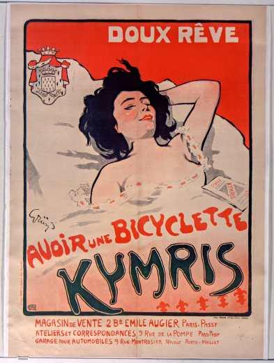 Titre : Doux rêve. Avoir une bicyclette Kymris... : [affiche] / [Jules-Alexandre Grün] Auteur : Grün, Jules (1868-1938). Illustrateur Éditeur : [s.n.][s.n.] Éditeur : [impr. Chaix] ([Paris]) Date d'édition : 1900 Sujet : Bicyclettes -- Publicité Sujet : Cycles et motocycles Type : image fixe Type : estampe Langue : français Format : 1 est. : lithogr. en coul. ; 130 x 195 cm Format : image/jpeg Format : Nombre total de vues : 1 Description : Affiche Droits : domaine public Identifiant : ark:/12148/btv1b90159148 Source : Bibliothèque nationale de France, ENT DN-1 (GRUN,Jules-Alexandre/2)-ROUL Notice du catalogue : http://catalogue.bnf.fr/ark:/12148/cb398381809 Provenance : Bibliothèque nationale de France Date de mise en ligne : 30/04/2011