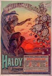 Titre : Elles règlent le soleil. Haldy. Immenses succès des Nouvelles et Magnifiques montres de précision Haldy... : [affiche] / [F. Hugo d'Alési] Auteur : Hugo d'Alési, F. (1849-1906). Illustrateur Auteur : Ateliers Hugo d'Alési. Illustrateur Éditeur : [s.n.][s.n.] Éditeur : [Ateliers Hugo d'Alesi] ([Paris]) Date d'édition : 1898 Sujet : Horlogerie -- Publicité Sujet : Bijouterie, horlogerie, etc. Type : image fixe Type : estampe Langue : français Format : 1 est. : lithogr. en coul. ; 108 x 76 cm Format : image/jpeg Format : Nombre total de vues : 1 Description : Affiche Droits : domaine public Identifiant : ark:/12148/btv1b9015952z Source : Bibliothèque nationale de France, ENT DN-1 (HUGODALESI,F./8)-ROUL Notice du catalogue : http://catalogue.bnf.fr/ark:/12148/cb39838373k Provenance : Bibliothèque nationale de France Date de mise en ligne : 30/04/2011