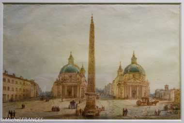 Musée Cognacq-Jay - Génération en Révolution - Victor-Jean Nicolle - Vue de la Piazza del Popolo à Rome - entre 1787 et 1811