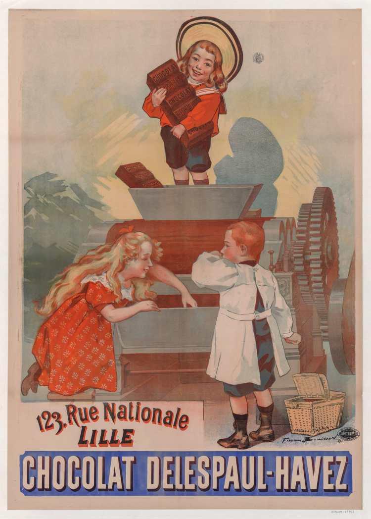 Titre :      Chocolat Delespaul-Havez... 13 rue nationale, Lille : [affiche] / Firmin Bouisset, 1892  Auteur :      Bouisset, Firmin (1859-1925). Illustrateur  Éditeur :      [s.n.][s.n.]  Éditeur :      Affiches Camis (Paris)  Date d'édition :      1892  Sujet :      Alimentation  Type :      image fixe  Type :      estampe  Langue :      français  Format :      1 est. : lithogr. en coul. ; 138 x 100 cm  Format :      image/jpeg  Format :      Nombre total de vues : 1  Description :      Affiche  Droits :      domaine public  Identifiant :      ark:/12148/btv1b53159243w  Source :      Bibliothèque nationale de France, département Estampes et photographie, GRAND ROUL-ENT DN-1 (BOUISSET, Firmin)  Notice du catalogue :      http://catalogue.bnf.fr/ark:/12148/cb45251828c  Provenance :      Bibliothèque nationale de France  Date de mise en ligne :      11/03/2018