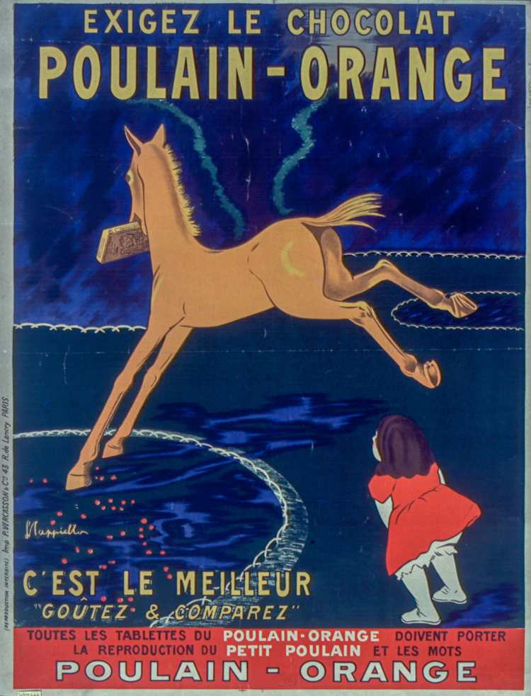 Titre :      Exigez le chocolat Poulain orange, c'est le meilleur... : [affiche] / [Leonetto Cappiello]  Auteur :      Cappiello, Leonetto (1875-1942). Illustrateur  Éditeur :      [s.n.][s.n.]  Éditeur :      [impr. Vercasson] ([Paris])  Date d'édition :      1911  Sujet :      Alimentation  Type :      image fixe  Type :      estampe  Langue :      français  Format :      1 est. : lithogr. en coul. ; 103 x 79 cm  Format :      image/jpeg  Format :      Nombre total de vues : 1  Description :      Affiche  Droits :      domaine public  Identifiant :      ark:/12148/btv1b9003915s  Source :      Bibliothèque nationale de France, ENT DN-1 (CAPPIELLO,Leonetto)-FT6  Notice du catalogue :      http://catalogue.bnf.fr/ark:/12148/cb39835723d  Provenance :      Bibliothèque nationale de France  Date de mise en ligne :      28/02/2011