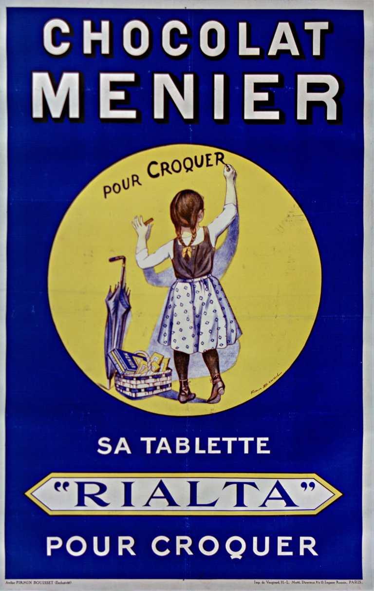 """Titre :      Chocolat Menier pour croquer. Sa tablette """"Rialta"""" pour croquer : [affiche] ([variante en 138 x 88 et sans la couleur rouge]) / [Firmin Bouisset]  Auteur :      Bouisset, Firmin (1859-1925). Illustrateur  Éditeur :      [s.n.][s.n.]  Éditeur :      [Imp de Vaugirard] ([Paris])  Date d'édition :      1925  Sujet :      Chocolat Menier -- Publicité  Sujet :      Alimentation  Type :      image fixe  Type :      estampe  Langue :      français  Format :      1 est. : lithogr. en coul. ; 138 x 88 cm  Format :      image/jpeg  Format :      Nombre total de vues : 1  Description :      Affiche  Droits :      domaine public  Identifiant :      ark:/12148/btv1b9014476b  Source :      Bibliothèque nationale de France, ENT DN-1 (BOUISSET,Firmin/2)-ROUL  Notice du catalogue :      http://catalogue.bnf.fr/ark:/12148/cb39835448x  Provenance :      Bibliothèque nationale de France  Date de mise en ligne :      30/04/2011"""
