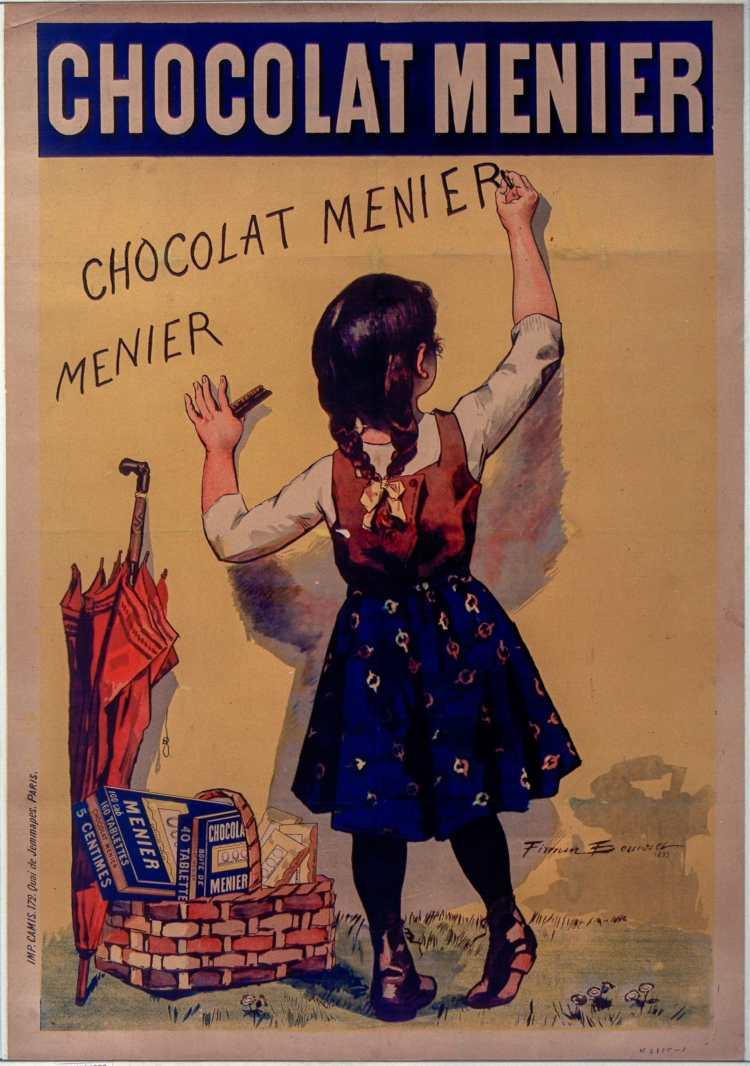 Titre :      Chocolat Menier [fillette écrivant sur un mur] : [affiche] ([Variante d'image : avec parapluie]) / [Firmin Bouisset, 1893]  Auteur :      Bouisset, Firmin (1859-1925). Illustrateur  Éditeur :      [s.n.][s.n.]  Éditeur :      [impr. Camis] ([Paris])  Date d'édition :      1893  Sujet :      Chocolat Menier -- Publicité  Sujet :      Alimentation  Type :      image fixe  Type :      estampe  Langue :      français  Format :      1 est. : lithogr. en coul. ; 127 x 89 cm  Format :      image/jpeg  Format :      Nombre total de vues : 1  Description :      Affiche  Droits :      domaine public  Identifiant :      ark:/12148/btv1b9014963f  Source :      Bibliothèque nationale de France, ENT DN-1 (BOUISSET,Firmin)-ROUL  Notice du catalogue :      http://catalogue.bnf.fr/ark:/12148/cb39835442v  Provenance :      Bibliothèque nationale de France  Date de mise en ligne :      30/04/2011