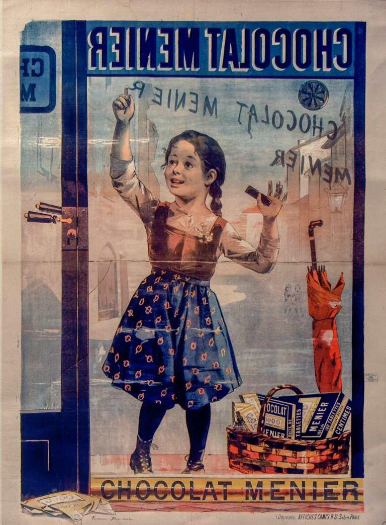 Titre :      Chocolat Menier [fillette de face écrivant sur une vitrine] : [affiche] ([Tirage original]) / Firmin Bouisset  Auteur :      Bouisset, Firmin (1859-1925). Illustrateur  Éditeur :      [s.n.][s.n.]  Éditeur :      Affiches Camis (Paris)  Date d'édition :      1896  Sujet :      Chocolat -- Publicité  Sujet :      Chocolat Menier -- Publicité  Sujet :      Alimentation  Type :      image fixe  Type :      estampe  Langue :      français  Format :      1 est. : lithographie, en coul. ; 130 x 100 cm  Format :      image/jpeg  Format :      Nombre total de vues : 1  Description :      Affiche  Droits :      domaine public  Identifiant :      ark:/12148/btv1b9015051f  Source :      Bibliothèque nationale de France, ENT DN-1 (BOUISSET,Firmin/1)-ROUL  Notice du catalogue :      http://catalogue.bnf.fr/ark:/12148/cb405646664  Provenance :      Bibliothèque nationale de France  Date de mise en ligne :      30/04/2011
